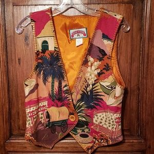 Vintage Western Cowgirl Southwest Vest Small
